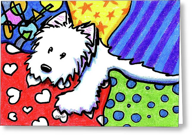 Pillow Pile Westie Greeting Card by Kim Niles