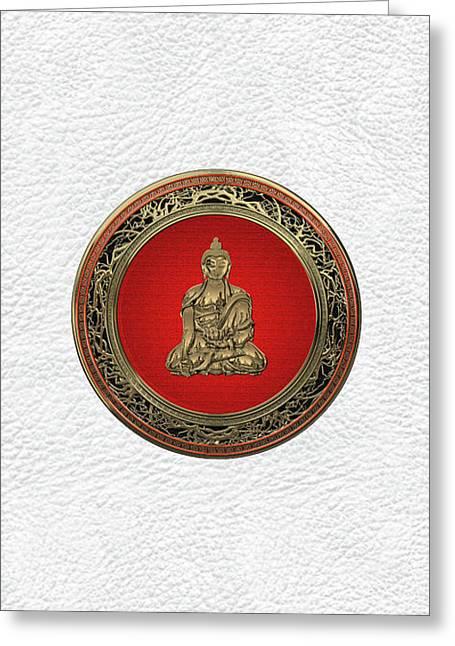 Treasure Trove - Gold Buddha On White Leather Greeting Card by Serge Averbukh