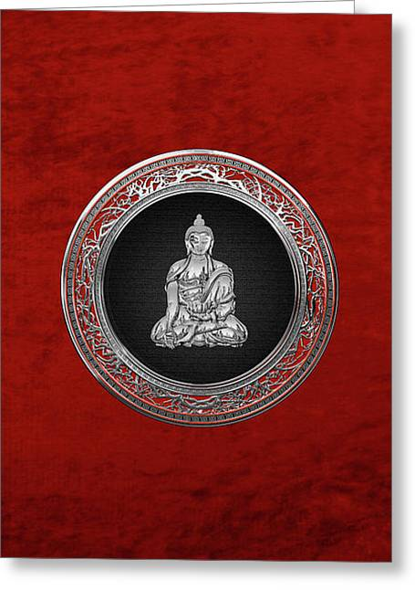 Treasure Trove - Silver Buddha On Red Velvet Greeting Card by Serge Averbukh