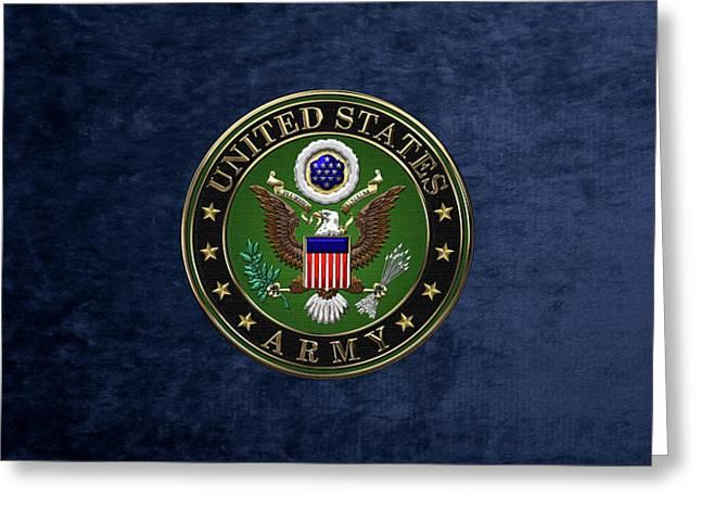 U. S.  Army Emblem Over Blue Velvet Greeting Card by Serge Averbukh