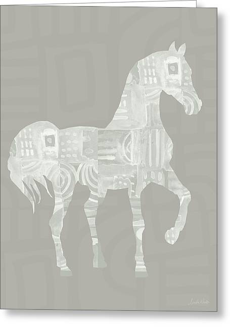 White Horse 1- Art By Linda Woods Greeting Card by Linda Woods