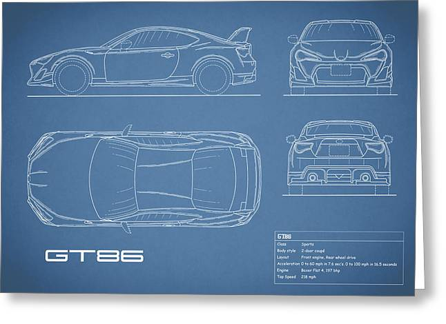 The Gt86 Blueprint Greeting Card by Mark Rogan