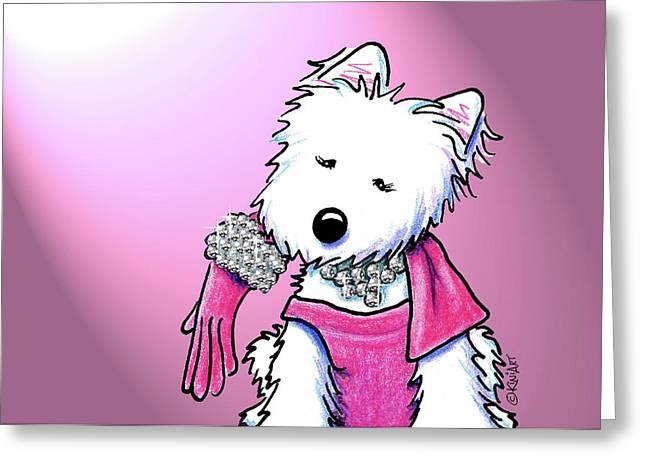 Kiniart Westie Glam Greeting Card by Kim Niles