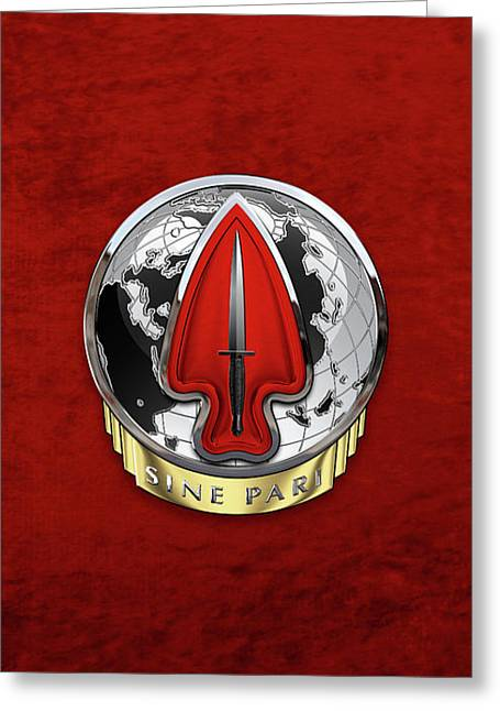 U. S.  Army Special Operations Command  -  U S A S O C    D U I Over Red Velvet Greeting Card by Serge Averbukh