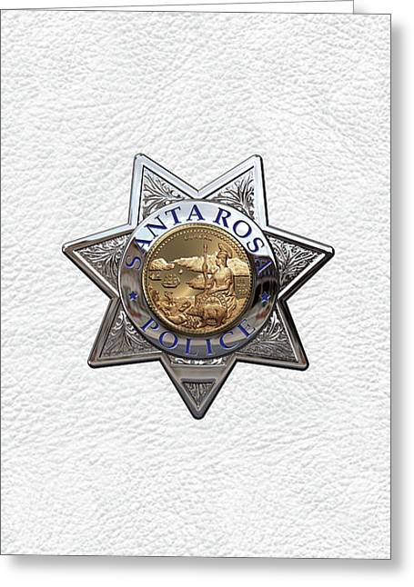 Santa Rosa Police Department Badge Over White Leather Greeting Card by Serge Averbukh