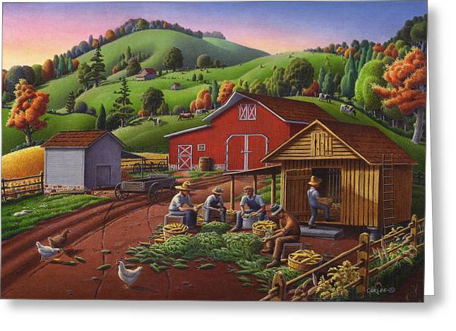 Folk Art Americana - Farmers Shucking Harvesting Corn Farm Landscape - Autumn Rural Country Harvest  Greeting Card by Walt Curlee