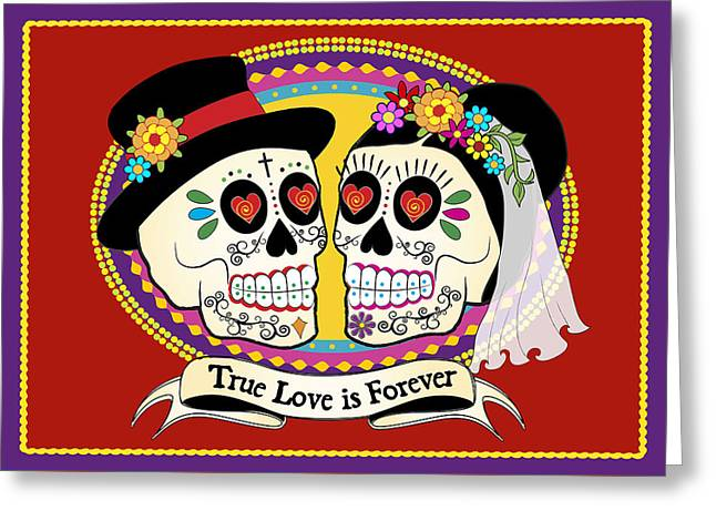Muertos Greeting Cards - Los Novios Sugar Skulls Greeting Card by Tammy Wetzel