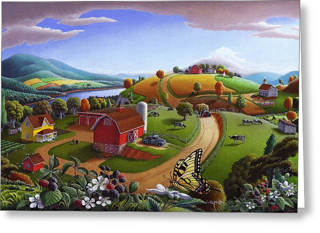 Farm Landscape Greeting Cards -  Folk Art Blackberry Patch Rural Country Farm Landscape Painting - Blackberries Rustic Americana Greeting Card by Walt Curlee