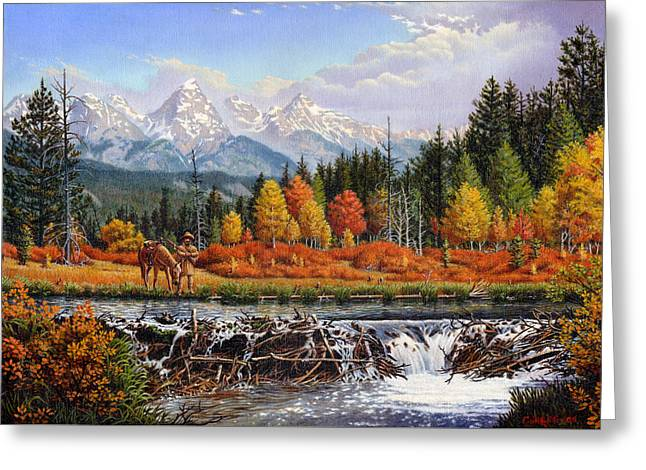 Trappers Greeting Cards - Western Mountain Landscape Autumn Mountain Man Trapper Beaver Dam Frontier Americana Oil Painting Greeting Card by Walt Curlee
