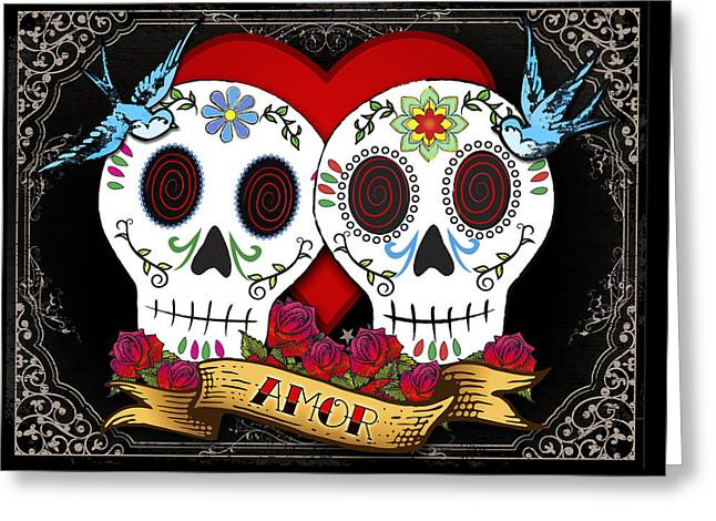 Good Luck Greeting Cards - Love Skulls II Greeting Card by Tammy Wetzel