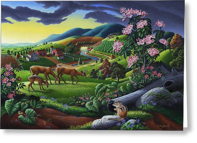 Deer Chipmunk Summer Appalachian Folk Art - Rural Country Farm Landscape - Americana  Greeting Card by Walt Curlee