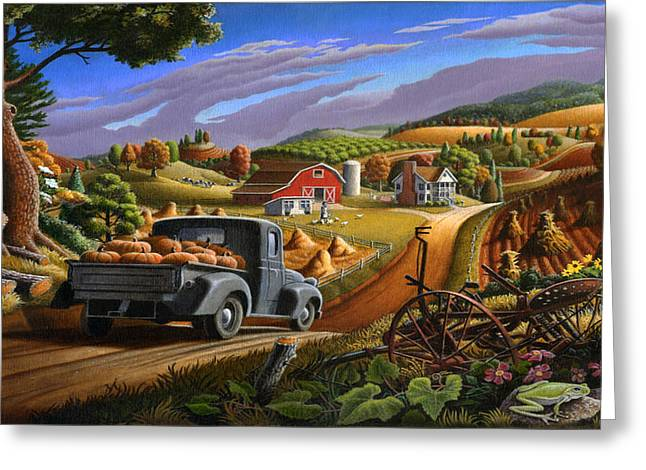Autumn Appalachia Thanksgiving Pumpkins Rural Country Farm Landscape - Folk Art - Fall Rustic Greeting Card by Walt Curlee