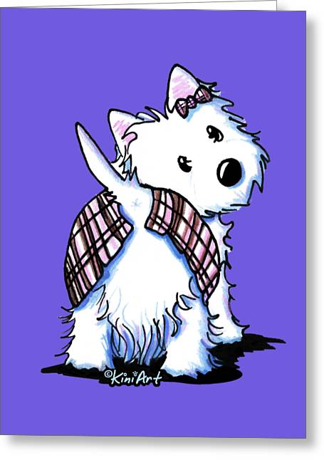 Dressed To Kilt Westie Greeting Card by Kim Niles