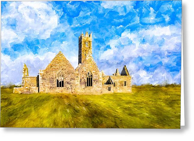 Irish Monastic Ruins Of Ross Errilly Friary Greeting Card by Mark E Tisdale