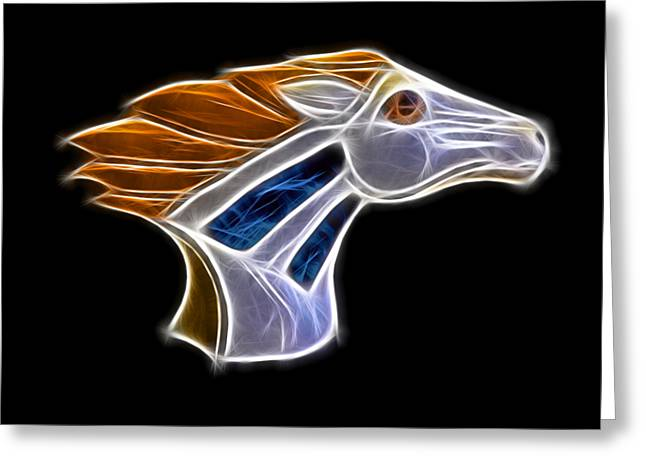 Broncos Mixed Media Greeting Cards - Glowing Bronco Greeting Card by Shane Bechler