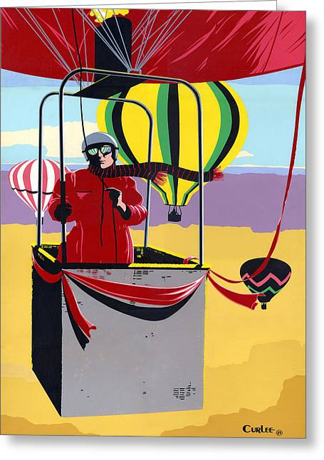 1980s Greeting Cards -  Hot Air Ballooning - Abstract - Pop Art nouveau Retro landscape Greeting Card by Walt Curlee