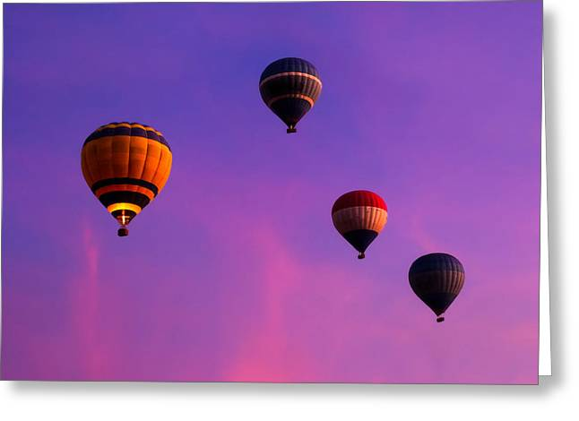 Violet Blue Greeting Cards - Hot Air Balloons Floating Over Egypt Greeting Card by Mark E Tisdale
