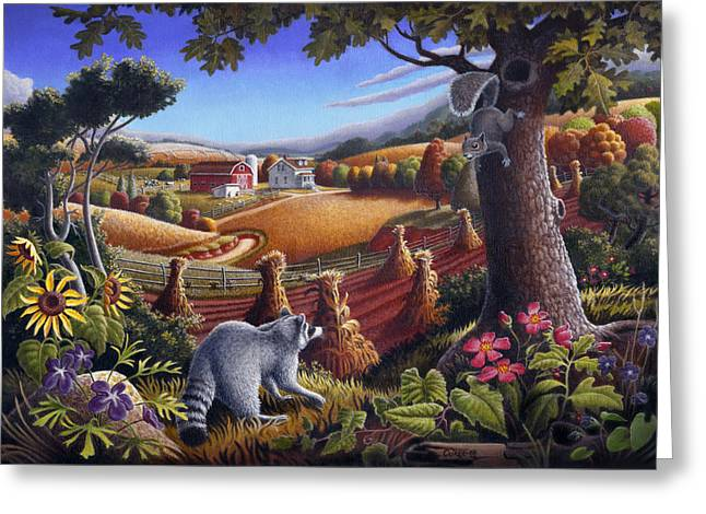 Hills Greeting Cards - Rural Country Farm Life Landscape folk art Raccoon Squirrel Rustic Americana scene  Greeting Card by Walt Curlee
