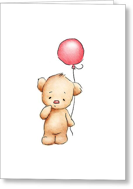 Teddy Bear With Red Balloon Greeting Card by Anna Abramska