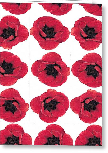 Cherry Blossoms Paintings Greeting Cards - Three Red Poppies Greeting Card by Cecely Bloom