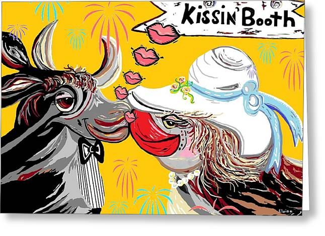 Cow Kiss Greeting Card by Eloise Schneider