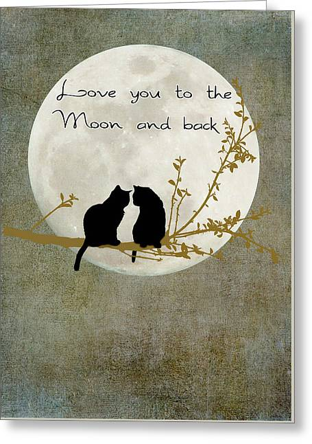 Love You To The Moon And Back Greeting Card by Linda Lees