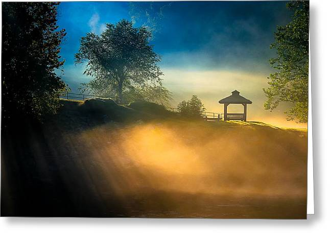 Scenic Artwork Greeting Cards - Misty Morning On The Chattahoochee Greeting Card by Mark E Tisdale