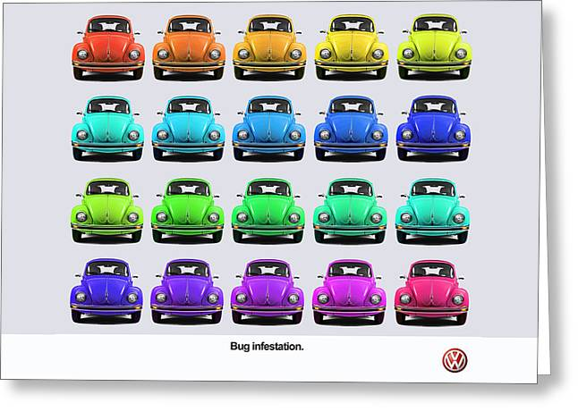Volkswagen Greeting Cards - Bug infestation. Greeting Card by Mark Rogan