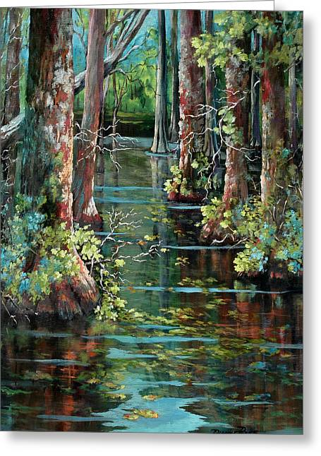 Louisiana Landscape Greeting Cards - Bluebonnet Swamp Greeting Card by Dianne Parks