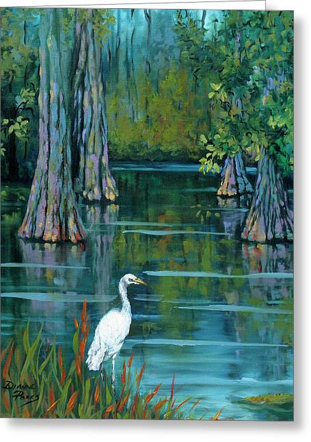 Cypress Trees Greeting Cards - The Fisherman Greeting Card by Dianne Parks