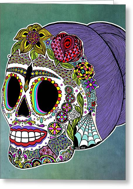 Catrina Sugar Skull Greeting Card by Tammy Wetzel