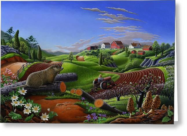 Amish Farms Paintings Greeting Cards - Farm Folk Art - Groundhog Spring Appalachia Landscape - Rural Country Americana - Woodchuck Greeting Card by Walt Curlee