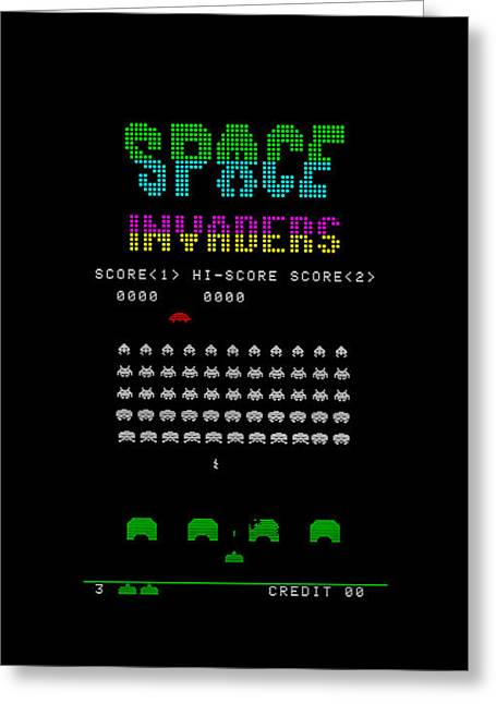 Old School Greeting Cards - Space Invaders Greeting Card by Mark Rogan