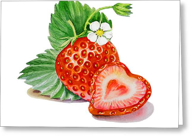 Strawberries Greeting Cards - ArtZ Vitamins A Strawberry Heart Greeting Card by Irina Sztukowski