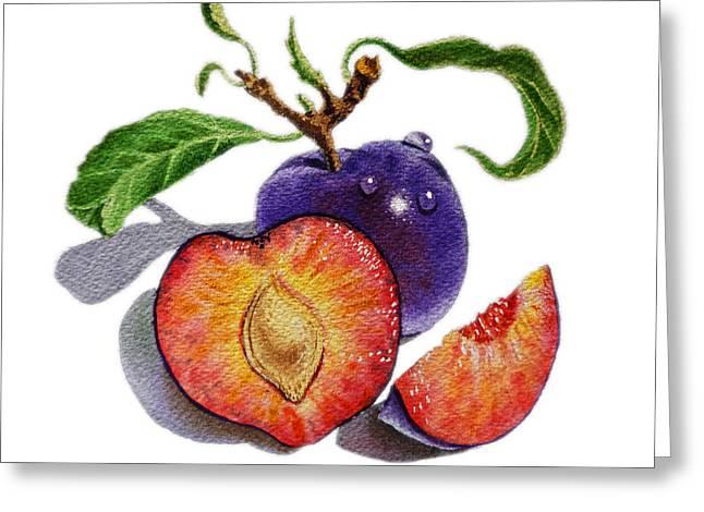 Farmers Market Fruit Greeting Cards - ArtZ Vitamins The Heart of A Plums Greeting Card by Irina Sztukowski