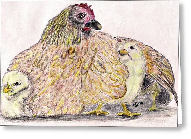 As a Hen Gathereth Her Chickens Under Her Wings Greeting Card by Marqueta Graham