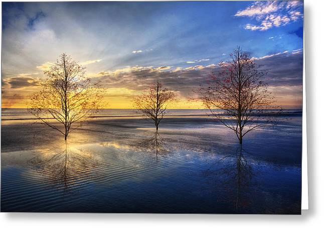 As The Day Unfolds Greeting Card by Debra and Dave Vanderlaan