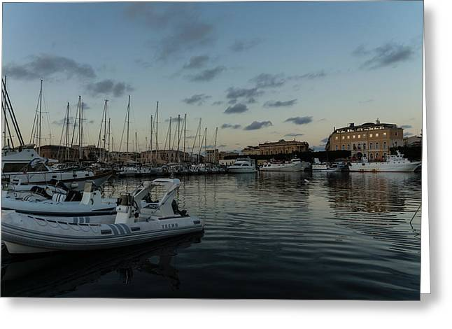 Gloaming Greeting Cards - As the Evening Gently Comes - Ortygia Syracuse Sicily Grand Harbor Greeting Card by Georgia Mizuleva