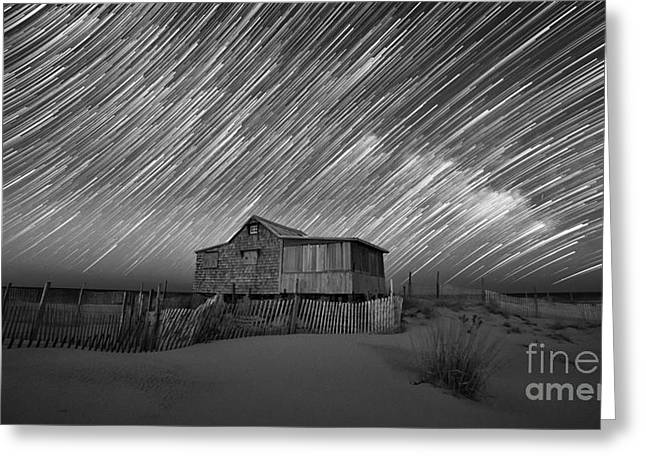 Seaside Heights Nj New Jersey Shore Hurricane Sandy Aftermath Beach Photo Photos Fireman Firefighter Firemen Dalmatian Dog Pet Fire Department Toms River Jetstar Roller Coaster Boardwalk Ocean Superstorm Greeting Cards - As The Stars Passed By bw Greeting Card by Michael Ver Sprill