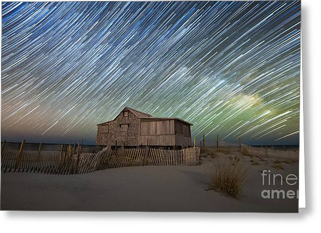 Seaside Heights Nj New Jersey Shore Hurricane Sandy Aftermath Beach Photo Photos Fireman Firefighter Firemen Dalmatian Dog Pet Fire Department Toms River Jetstar Roller Coaster Boardwalk Ocean Superstorm Greeting Cards - As The Stars Passed By  Greeting Card by Michael Ver Sprill