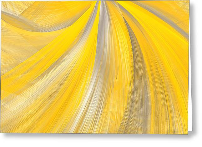 Yellow And Gray Abstract Greeting Cards - As The Sun Shines - Yellow And Gray Art Greeting Card by Lourry Legarde