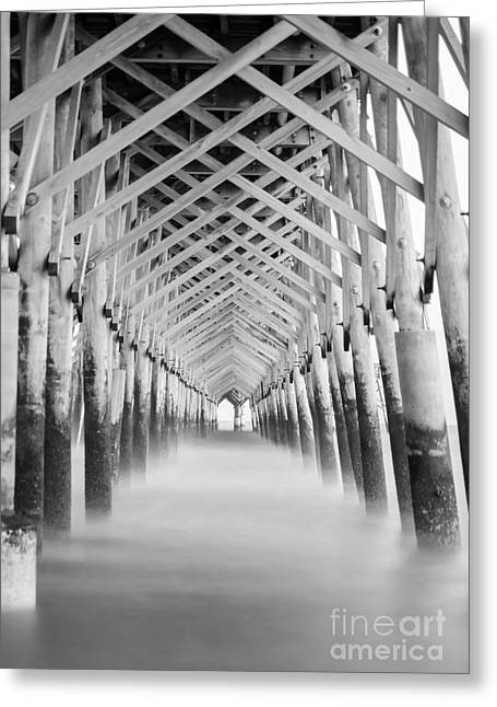 Beach Photos Greeting Cards - As The Water Fades Grayscale Greeting Card by Jennifer White