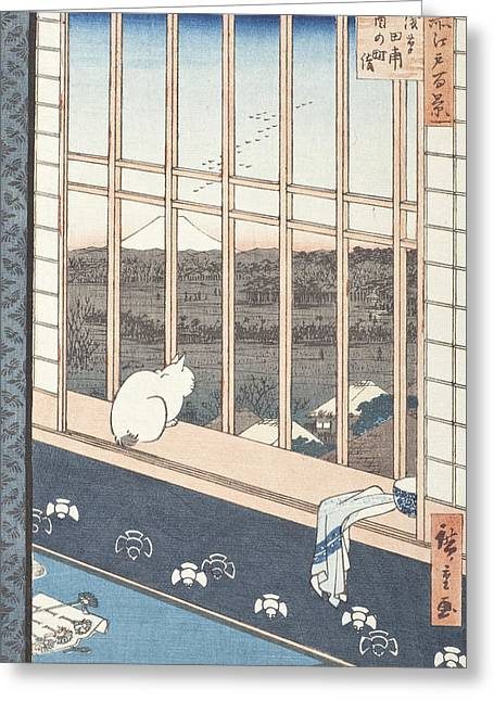 Mt Drawings Greeting Cards - Asakusa Rice Fields and Festival of Torinomachi from the Series One Hundred Famous Views of Edo Greeting Card by Hiroshige