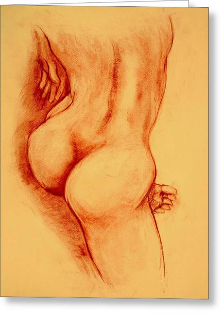 Nude Drawings Drawings Greeting Cards - Asana Nude Greeting Card by Dan Earle