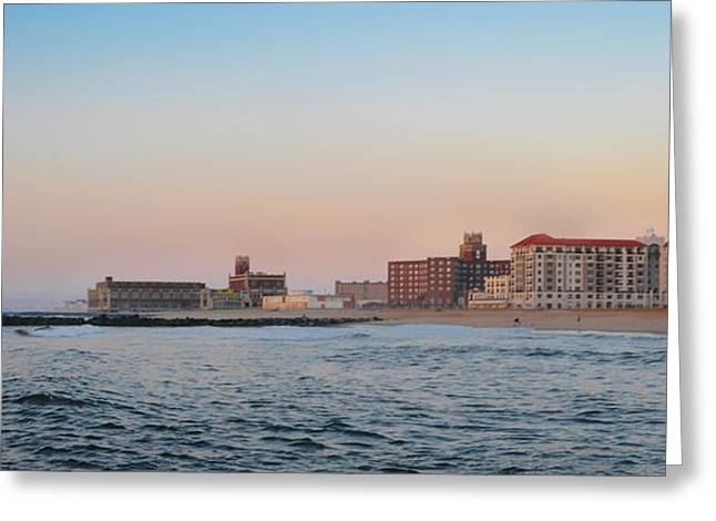 Ocean Panorama Digital Art Greeting Cards - Asbury Park Boardwalk from the Beach Greeting Card by Bill Cannon