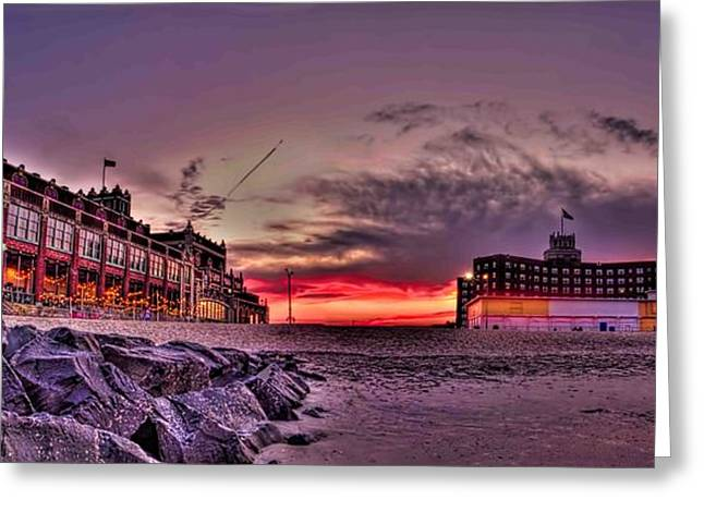 Ocean Art Photos Greeting Cards - Asbury Park Sunset  Greeting Card by Geraldine Scull