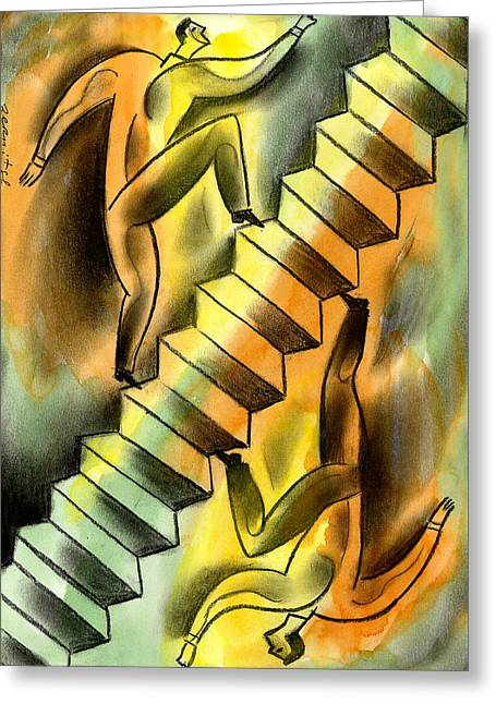 Ascending And Descending Greeting Card by Leon Zernitsky