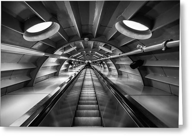 Escalator Greeting Cards - Ascending Greeting Card by Chris Fletcher
