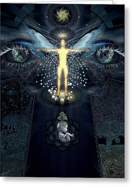 Ayahuasca Greeting Cards - Ascension and Rebirth Greeting Card by Alex Polanco