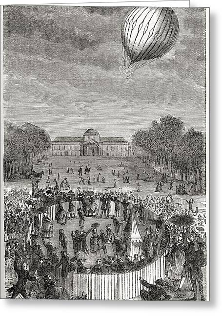 Champ Drawings Greeting Cards - Ascent Of Charles Balloon Over The Greeting Card by Ken Welsh